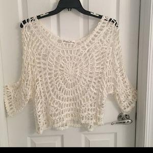 PRETTY ANGEL White Silk Soutache Knitted Top LG